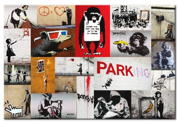 Découvrez tableau Banksy - collage et autres décorations dans la galerie bimago - tableau mural, triptyque, reproduction impression sur toile.