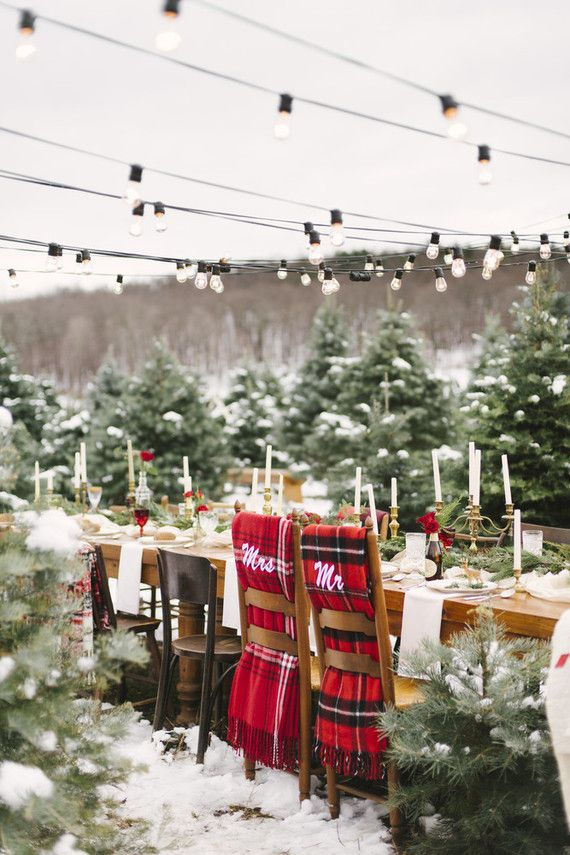 Snowy Christmas Tree Farm Wedding Ideas Winter Wedding Decorations Winter Wedding Red Winter Wedding