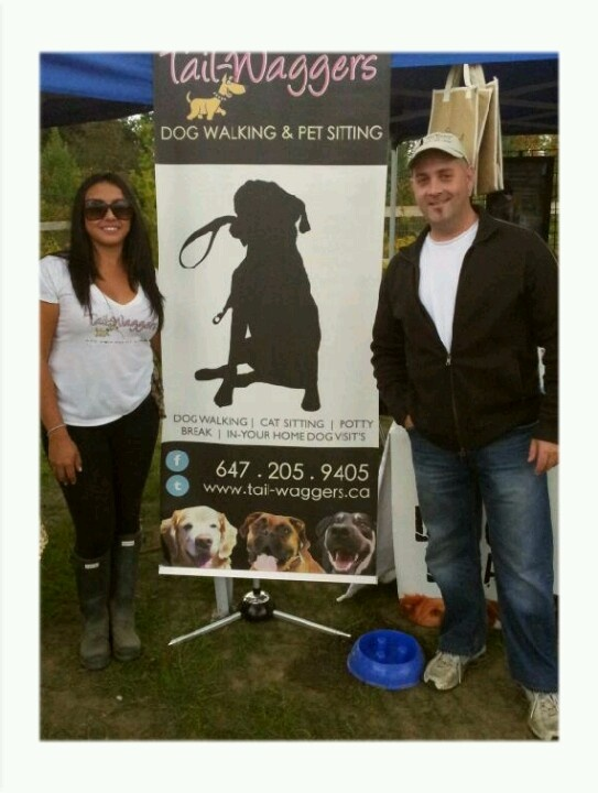 Tail-Waggers Owner's Vince and  Social Media Strategist Evelyn at the opening on the new dog park in Richmond Hill Ontario 2012.