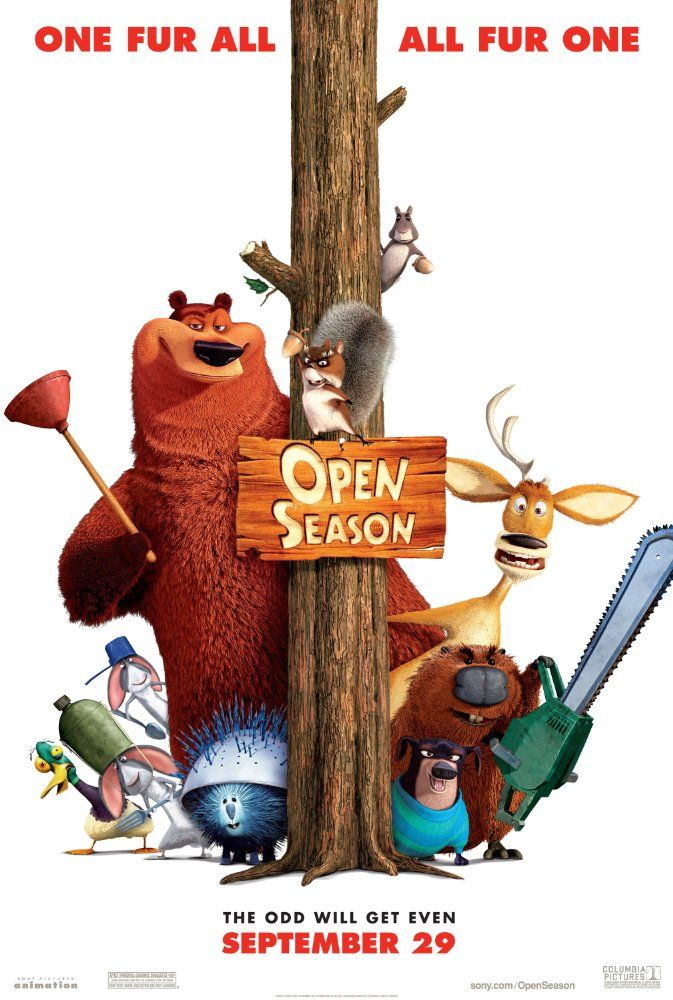 Directed by Roger Allers, Jill Culton, Anthony Stacchi.  With Ashton Kutcher, Martin Lawrence, Debra Messing, Gary Sinise. Boog, a domesticated 900lb. Grizzly bear, finds himself stranded in the woods 3 days before Open Season. Forced to rely on Elliot, a fast-talking mule deer, the two form an unlikely friendship and must quickly rally other forest animals if they are to form a rag-tag army against the hunters.