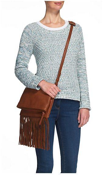 Indigo Collection Fringed Messenger Bag