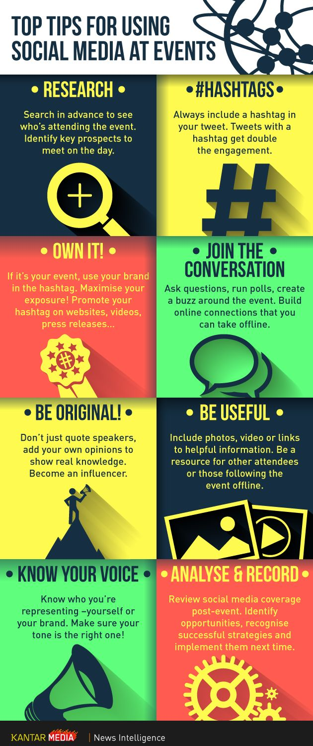 Top Tips for Social Media at Events http://www.helpmequitthe9to5.com social…