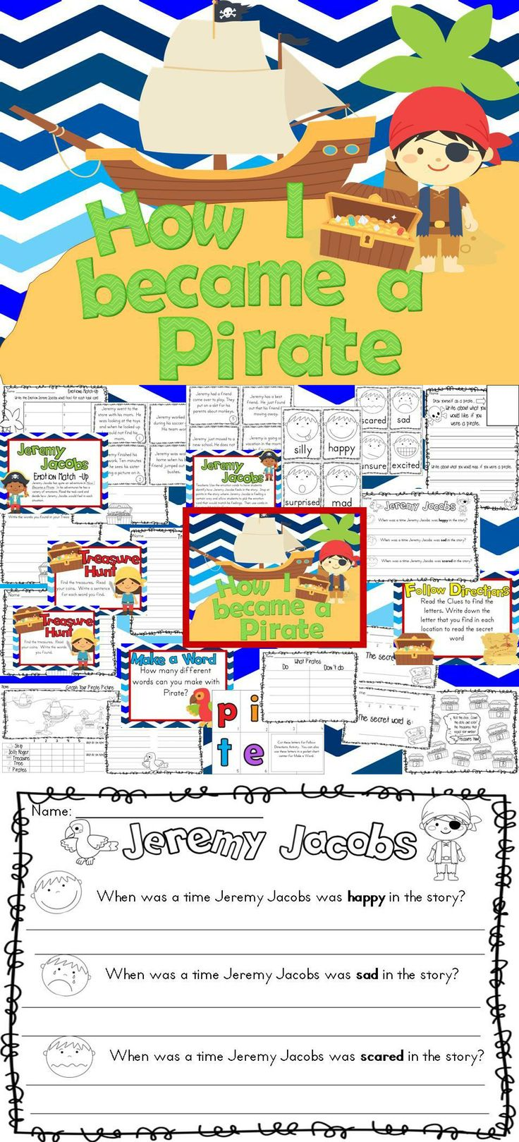 How I became a Pirate Activity Pack  Build on schema text to self- as they work on how Jeremy Jacobs feels through out the book.  Centers, printables and activity suggestions #pirates #tpt