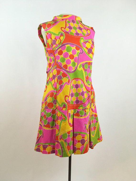Purple Retro scooter dress SM Vintage sixties mini dress Pink Orange Vintage Mod 60s Psychedelic Dress Yellow