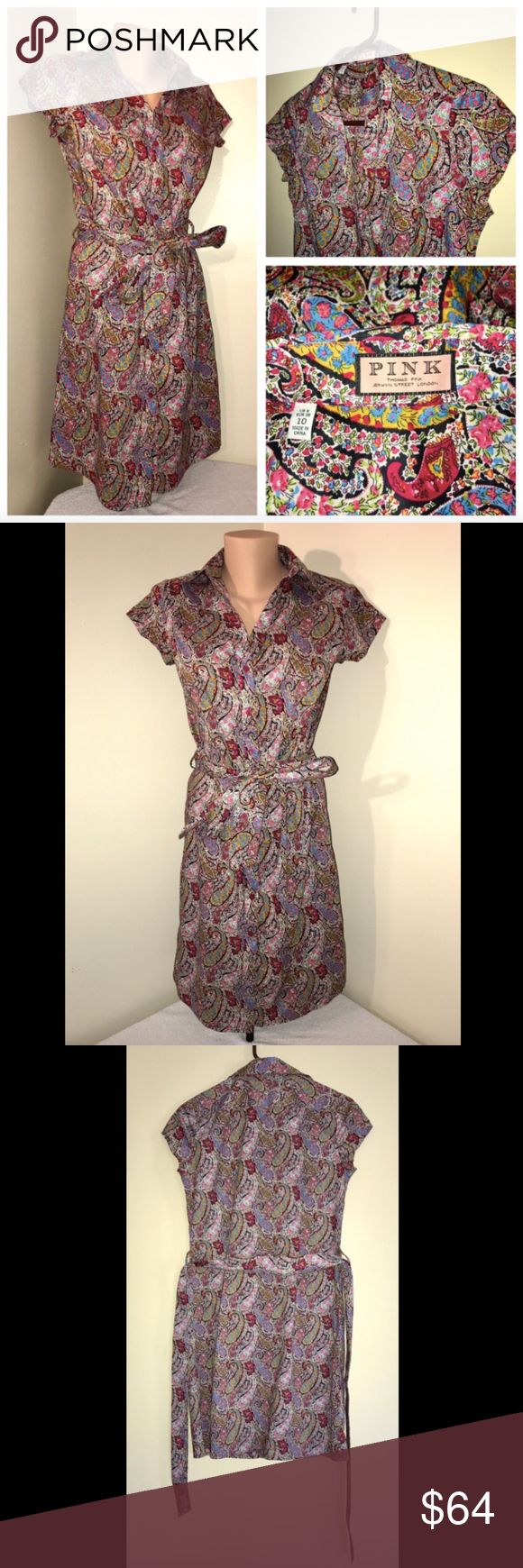 Thomas Pink Rainbow Color Paisley Style Dress US-6 ALL OFFERS CONSIDERED!  Description Size: 6 (US) Color: Multi-Colored Rainbow Paisley Design Tag Measurements- 6 (US) Condition: Excellent Features: Cap Sleeve, No Pilling, All Buttons Intact, No Fading, Comfortable  Flaws: None  Measurements:  Chest - 18.5 inches  Waist - 16 inches  Shoulder - 15 inches  Sleeve - 4.5 inches  Length - 37.5 inches Thomas Pink Dresses Midi