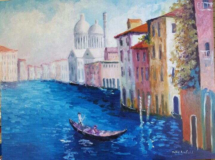 Venice Oil painting on hard board with box frame on back ready to hang 800cm x 600cm  $500