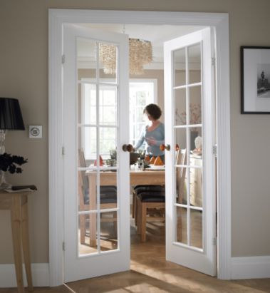 B&Q Cadeby White Woodgrain 20 Lite Clear Glass French Door Set (H)1981 (W)1168mm, NAT31PROFD