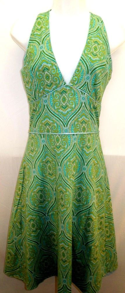 #Paisley #Halter #Sundress #SummerDress #WomensDresses #PlungeNeckline Green Turquoise Lime Baby Blue #Lined #APNY