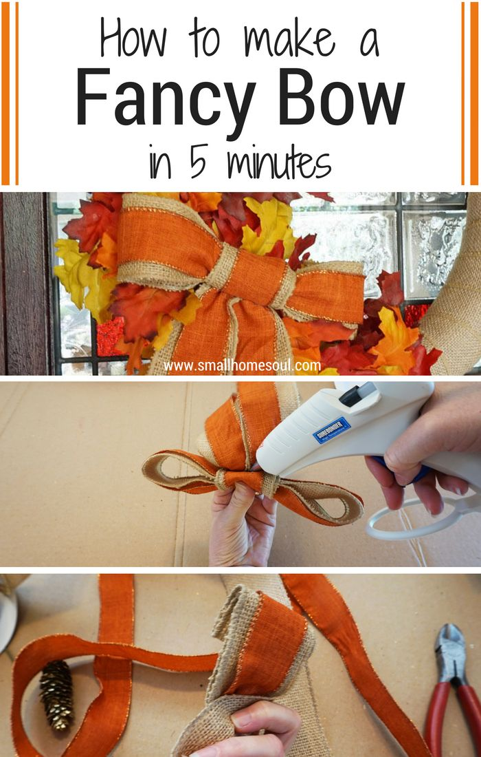 This 5 minute fancy bow looks so easy to make. Just a few supplies and it's ready for any wreath! Check out the video at www.smallhomesoul.com