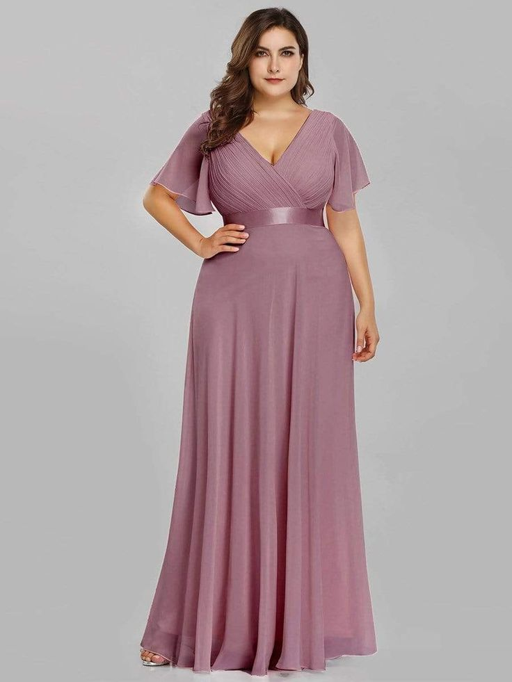 Plus Size Empire Waist Evening Dress with Short Sleeves ...