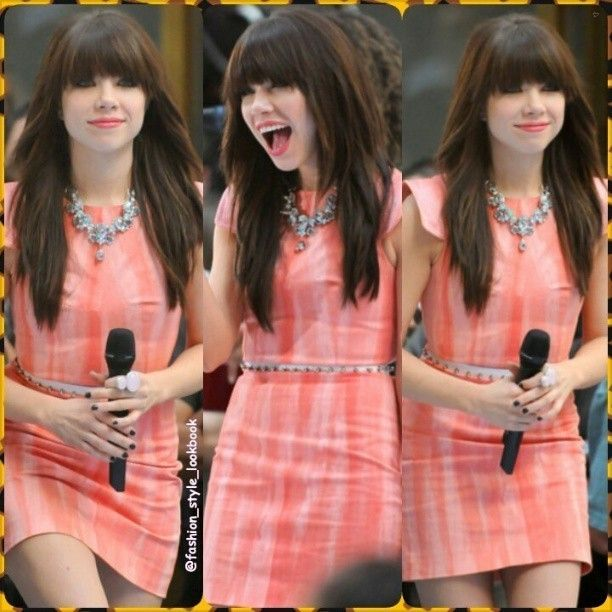 #carlyraejepson #necklace #peach #black #orange #coral #redlips #dress #accessories #fashion #style #styles #fashionista #fashionicon #styleicon #stylish #instafashion #instastyle #celebrity  #streetfashion #outfit #streetfashion #outfit #blonde #pink #instyle #makeup #shoes #heels #bags... - Celebrity Fashion