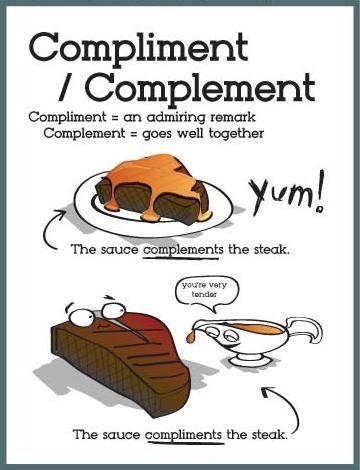 เรียนภาษาอังกฤษ ความรู้ภาษาอังกฤษ ทำอย่างไรให้เก่งอังกฤษ  Lingo Think in English!! :): Compliment vs. Complement เเตกต่างกันอย่างไร