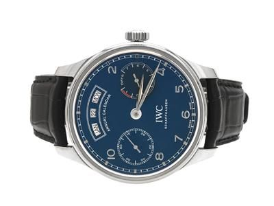 """IWC, Portugieser """"Annual Calendar"""", 7-Days, Cal 52850, Serial no. 4047888, Ref no. IW503502, Case no. 6022408, men´s wristwatch, 44,2 mm, steel, self winding, sapphire crystal, day, date, month, power reserve, leather strap, folding clasp, certificate, December 2016, case. #iwc #wristwatch #watches #auction"""