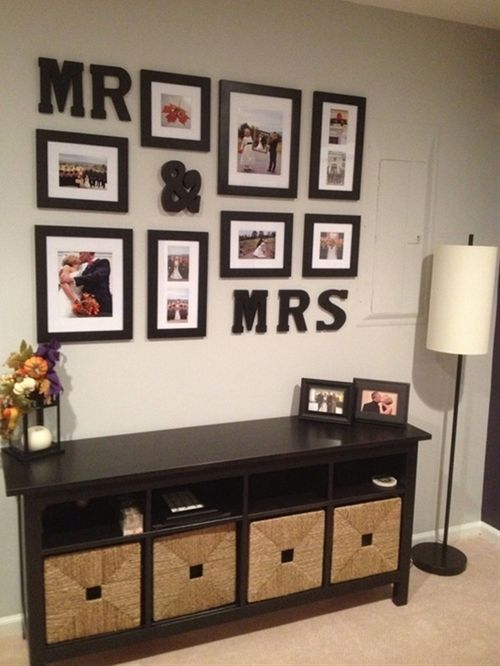 Display your wedding photos.. We already have that ikea piece! This could be a fun addition.. Too busy looking tho?