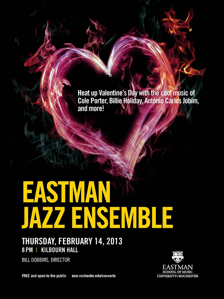 poster for eastman jazz ensembles hot valentines day concert