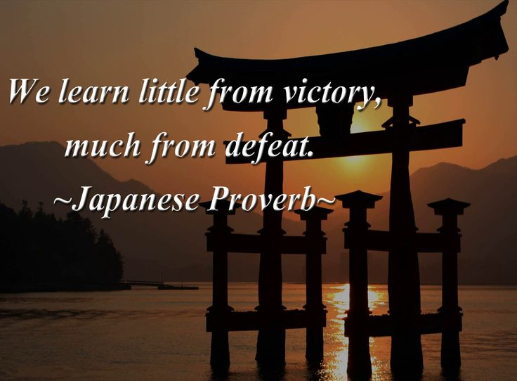 We learn little from victory, much from defeat. Japanese proverb.