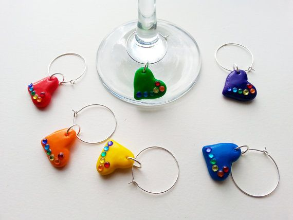 Rainbow Heart Wine Charms. by TreacleTownTreasures on Etsy, £6.00