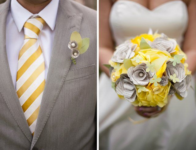 Harry Potter Wedding -- the theme is very subtle, and I love the idea of using pages from the books for the paper flowers in the bouquet.