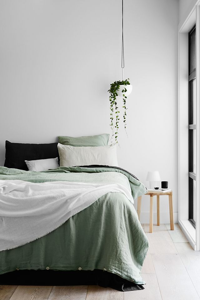 Green linen bedding.