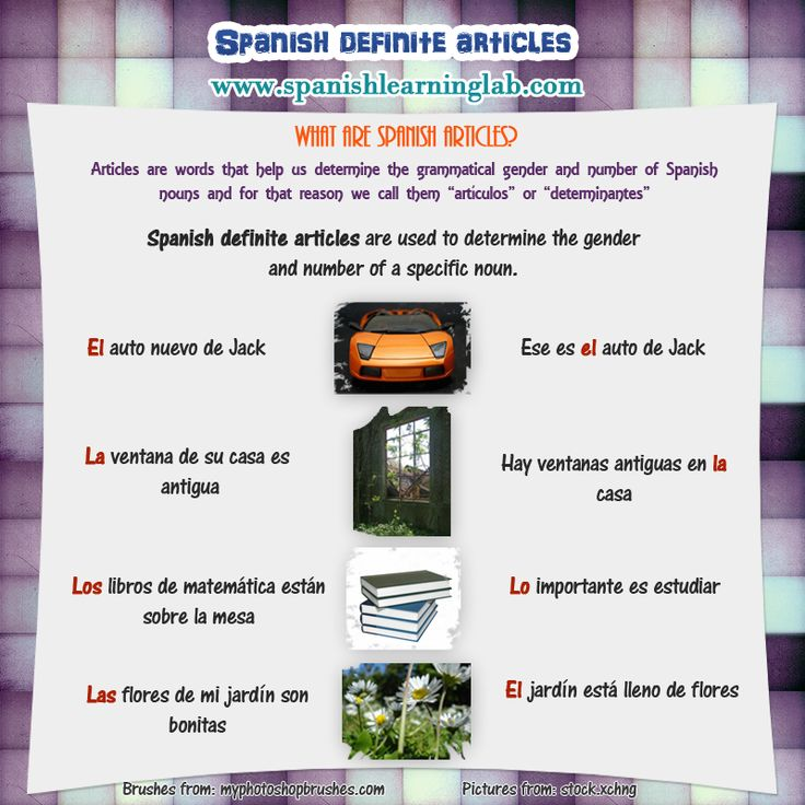 when to use articles in spanish