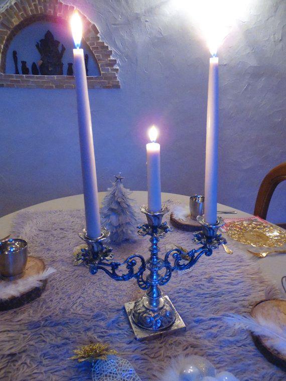 Chandelier  candelabre en metal argenté 3 branches par MadeinFlo