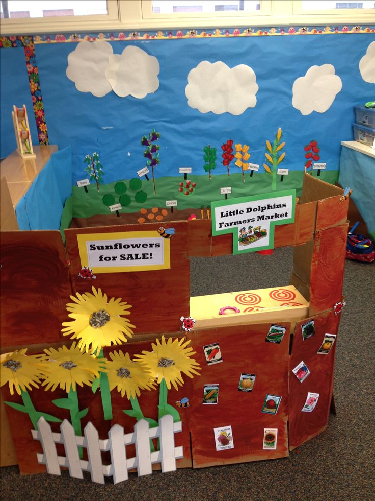 Growing and changing farmers market + garden!  This dramatic play area is a great way to teach preschoolers how to grow fruits and vegetables.
