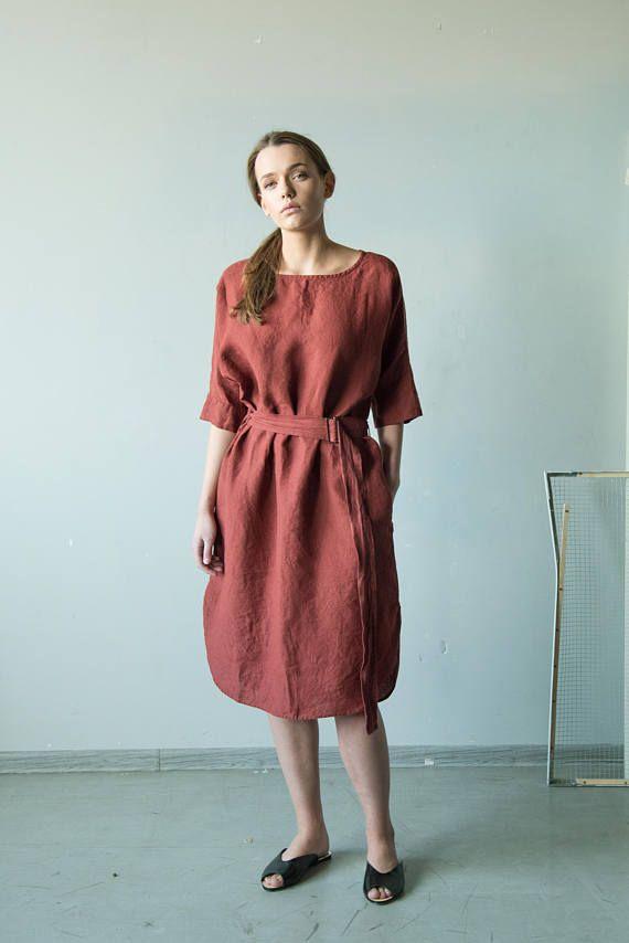 NIEUWE Fired baksteen rood linnen tuniek dress, linnen kimono jurk met oversized linnen jurk, riem, linnen rode lange jurk