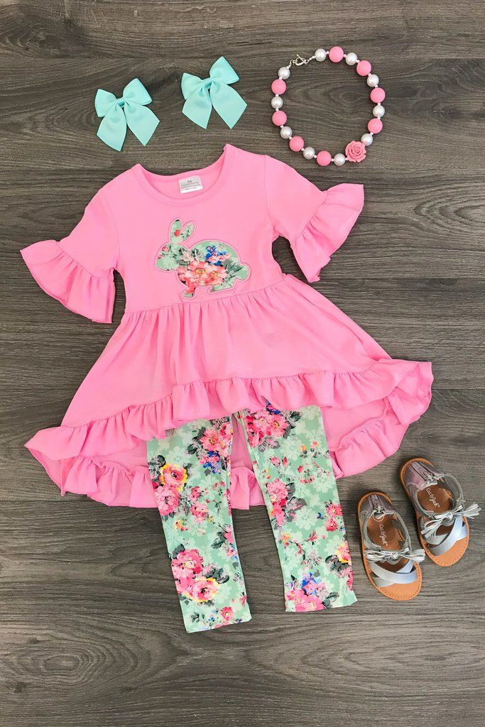 Bunny Mint Floral Hi-Low Tunic Set