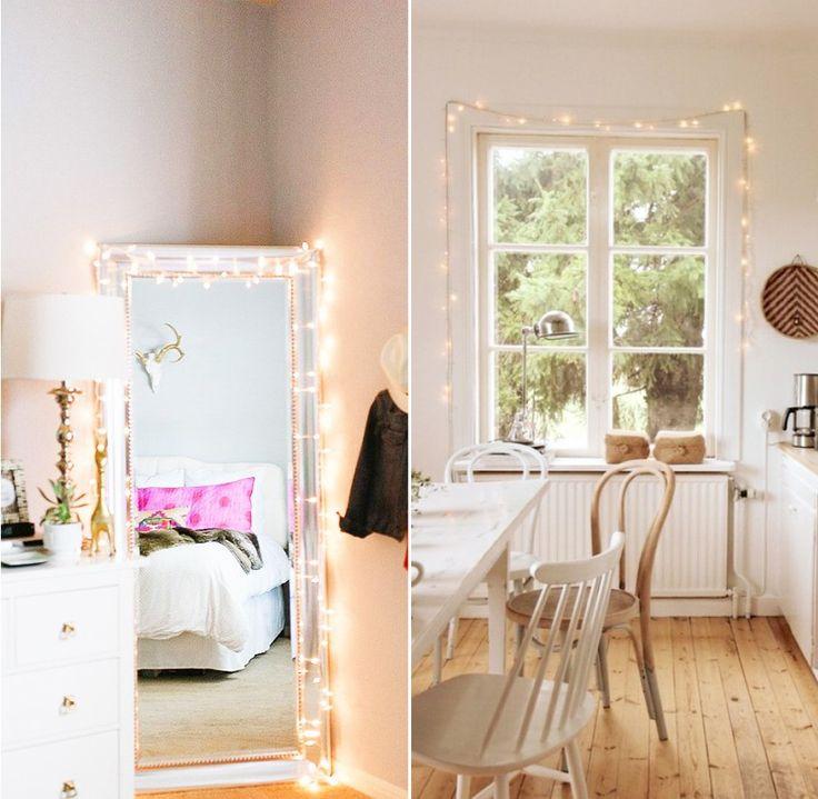 Украшение интерьера гирляндами: окантовка окон и зеркала  #гирлянды #интерьер #декор #украшения #дом #уют #комната #whitelights #white_lights #fairy_lights #magic #decor #room #interiordecor