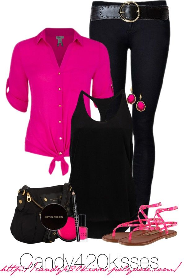 good outfits pink and black blue