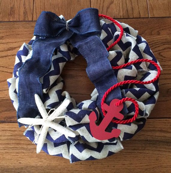 Blue Chevron Burlap Anchor Wreath with Shell on Etsy, $45.00