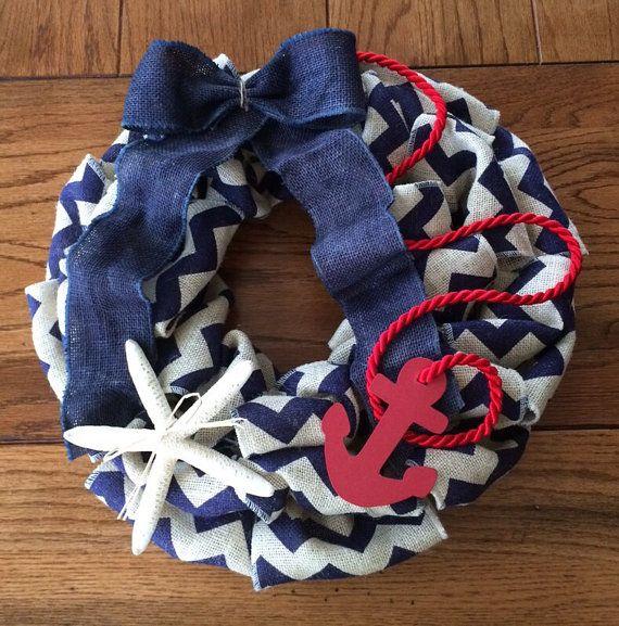 Blue Chevron Burlap Anchor Wreath with Shell on Etsy, $45.00
