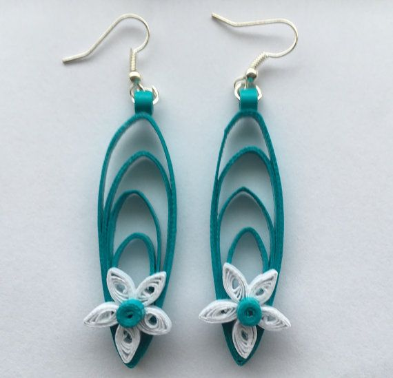 Quilling Papers Earrings: Quilled Earrings, Handmade Jewelry, Quilled Jewelry, White