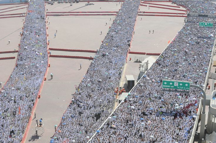 "Thousands of Muslim pilgrims arrive to throw pebbles at pillars during the ""Jamarat"" ritual, the stoning of Satan, in Mina near the holy city of Mecca, on November 6, 2011"