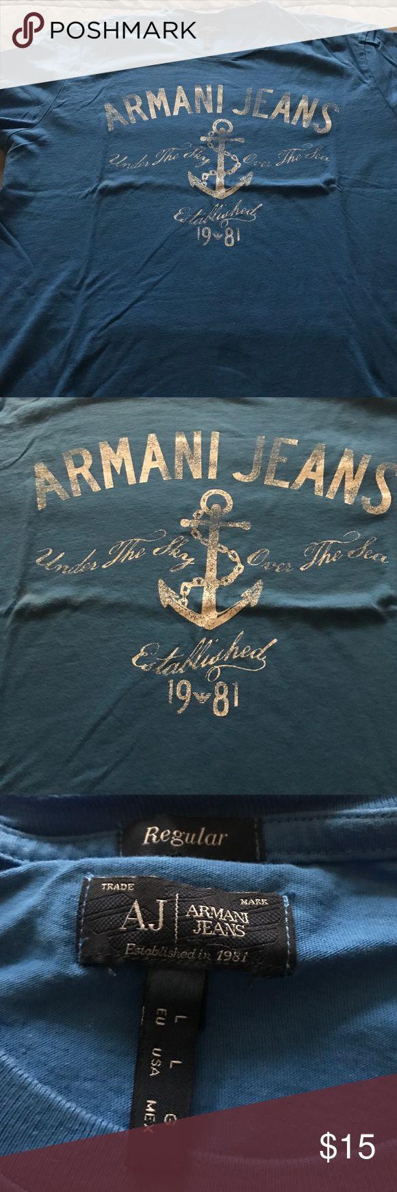 Armani Jeans T Shirt Size L Size Large Armani Jeans Blue T Shirt Armani Jeans Shirts Tees - Short Sleeve