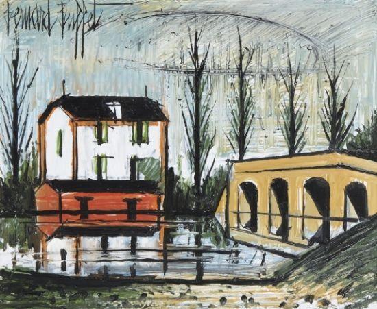 Bernard BUFFET (1928-1999) Maison près de la rivière, 1995 Huile sur panneau Sold 27 000€ #artauction