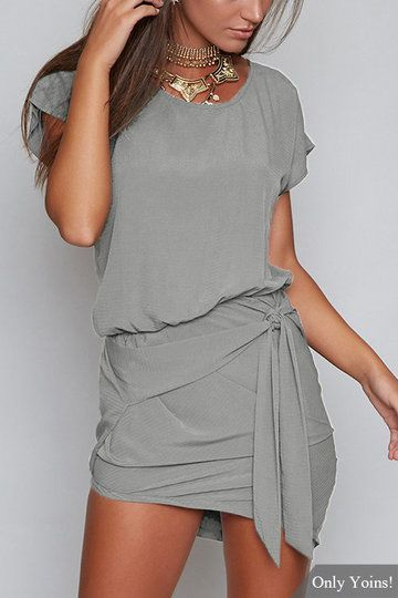 Casual Round Neck Self-tie Waist Mini Dress With Short Sleeves from mobile - US$17.95 -YOINS