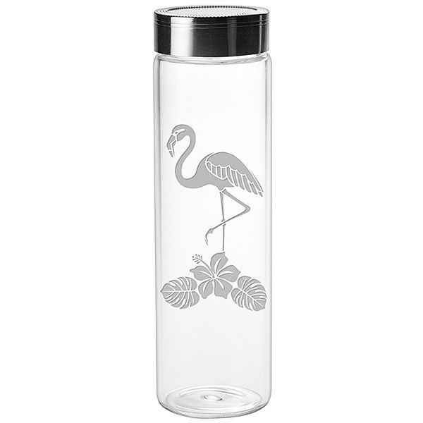 Susquehanna Glass Tropical Flamingo Water Bottle ($18) ❤ liked on Polyvore featuring home, kitchen & dining, serveware, drink bottles, beverage bottles, susquehanna glass, drinking water bottle and dishwasher safe water bottle