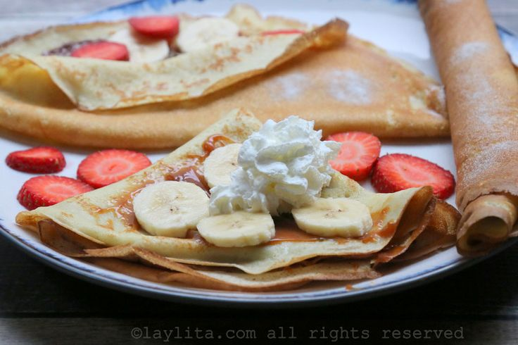 Basic and easy recipe for making French crepes with flour, sugar, eggs, milk, vanilla, and butter. Includes step by step photos and video.