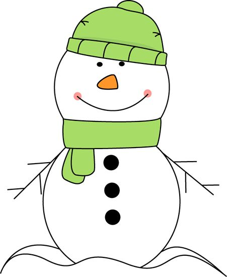 Cute snowman wearing a green hat and scarf clip art