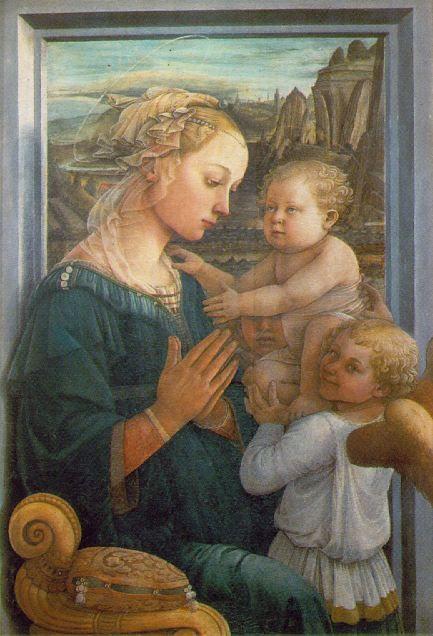 Fra Filippo Lippi  聖母子と2天子 1460年代  ウフィツィ美術館