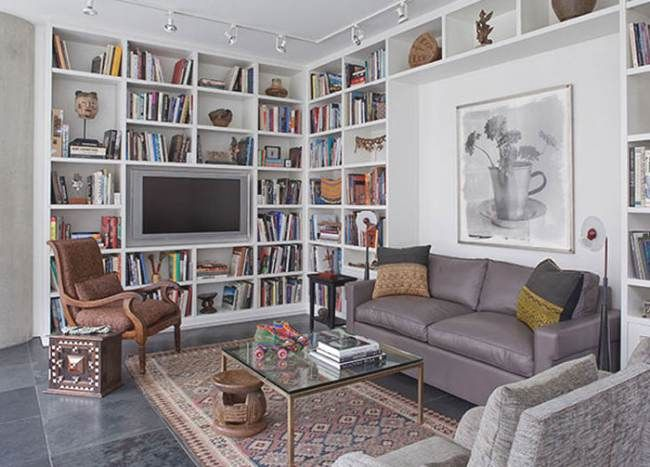 Ideas Decoración Biblioteca como Pared Funcional Ideas - muebles de pared