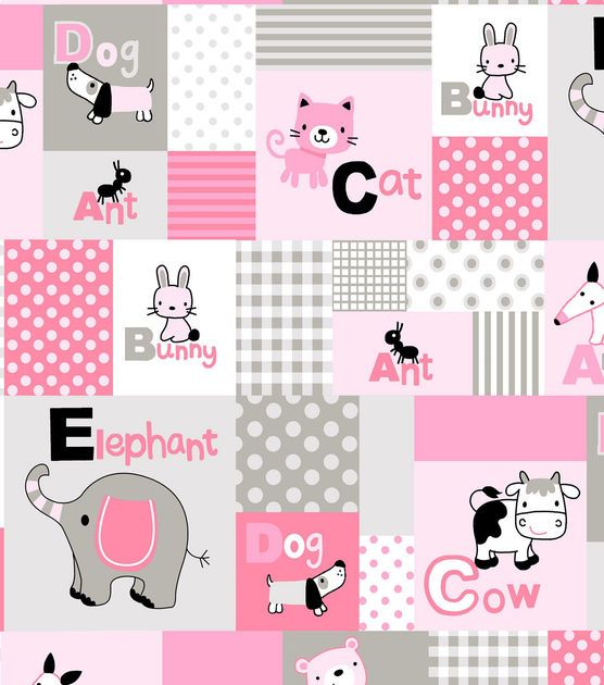 Nursery Fleece Fabric-Alphabet Baby Animal Gray Pink
