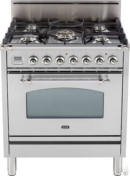 "Ilve UPN76DVGG 30"" Professional-Style Gas Range with 5 Semi-Sealed Burners, European Convection, Rotisserie, Flame Failure Safety Device, Heat Insulated Door and Full Width Warming Drawer"