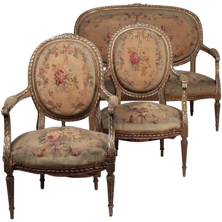 French Louis XVI Style Antique Settee and Pair of Chairs