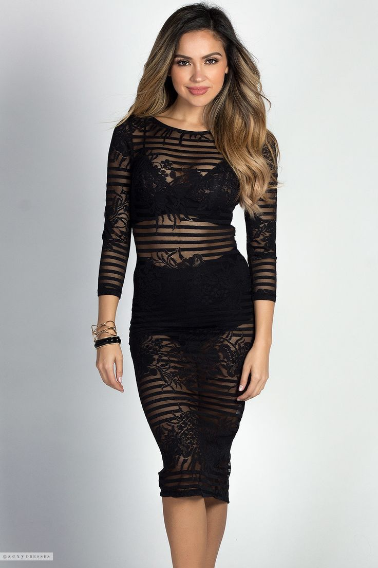 Bodycon Midi Length Striped Floral Lace Black See Through Dress with Sleeves