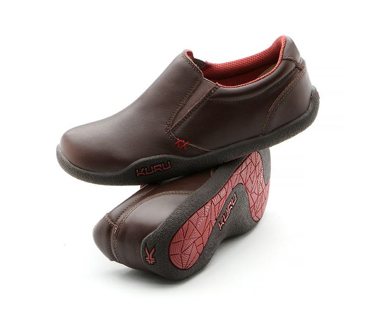 KIVI Women's Casual SlipOn Plantar Fasciitis Shoe Brown Leather Pair  www.kurufootwear.com