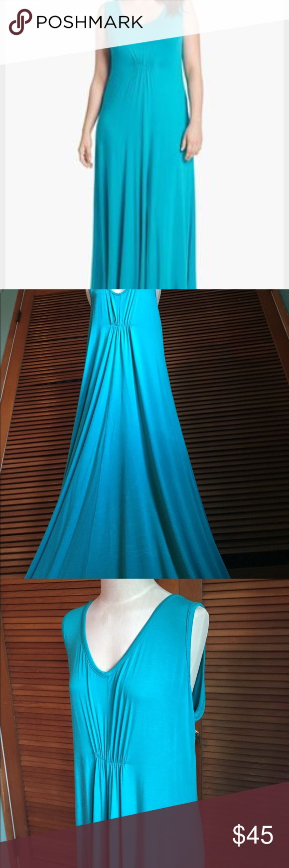 New! LAmade Teal green Maxi dress Beautiful LAmade teal green color in a flowing maxi dress that is so comfortable! Color is Palm green, size 1X from Nordstrom. Stretchy! This will make your green or blue eyes pop! There are a few crease marks from being stored not quite sure how to remove these. One tiny spot(see pics) not really noticeable but wanted to mention. Material feels like a soft jersey mix. Very flattering, versatile, could also be a maternity dress because of its length and…
