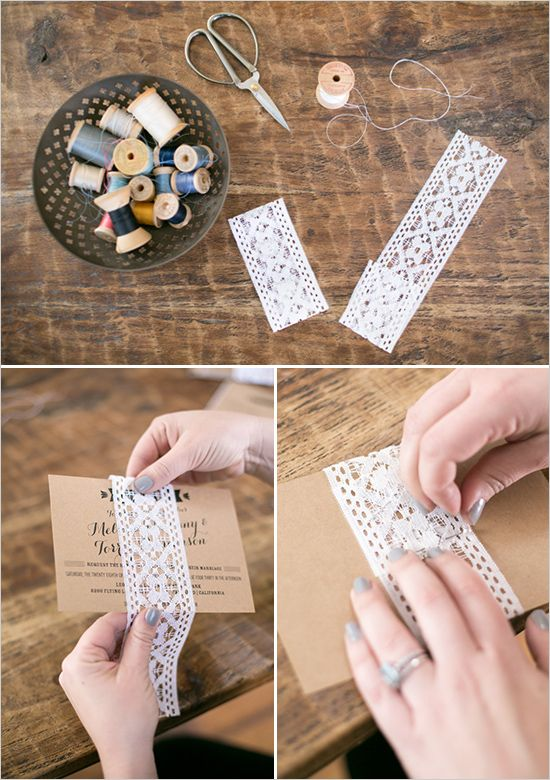 lace wrapped wedding invites diy tutorial #weddinginvites #diy #weddingchicks http://bit.ly/1qEWR4V