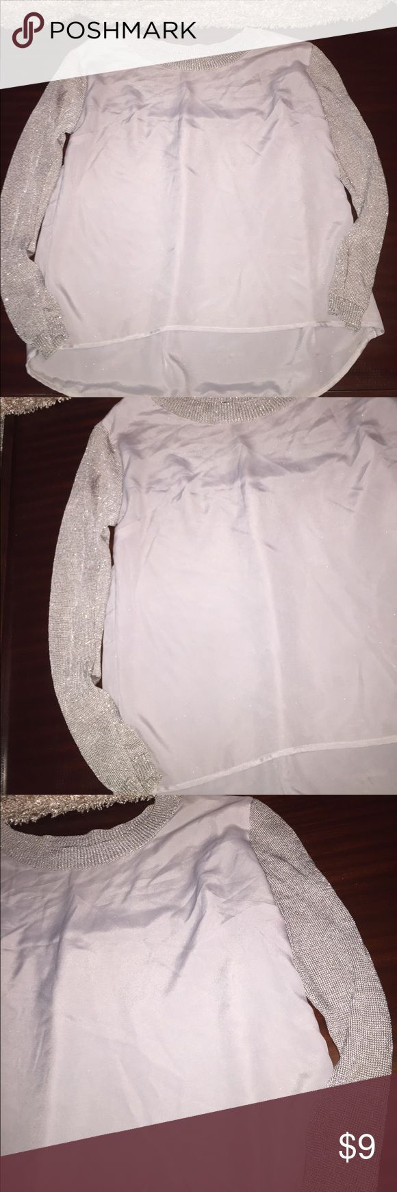 Silver pearl marisol white lace 1 - Ab Studio Silver Light Weight Metallic Blouse M